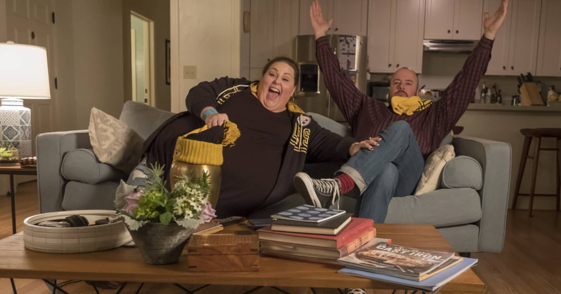 "Scene from NBC's ""This is Us,"" featuring Chrissy Metz as Kate and Chris Sullivan as Toby."