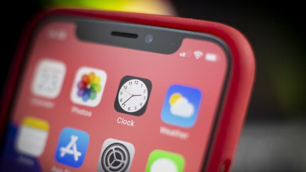 The Clock application is seen on an Apple iPhone in this photo illustration on January 29, 2019.