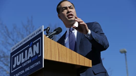 Julian Castro, former U.S. Department of Housing and Urban Development (HUD) Secretary and San Antonio Mayor, announces his candidacy for president in 2020 at Plaza Guadalupe on January 12, 2019 in San Antonio, Texas.