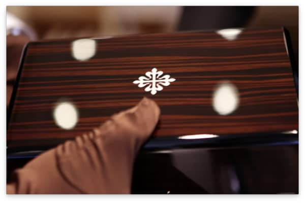 The  inlaid Calatrava Cross on the wood case of the Patek Philippe Ref 5711/1A