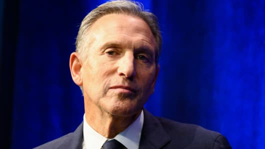Former Chairman and CEO of Starbucks, Howard Schultz, speaks during the presentation of his book 'From The Ground Up' on January 28, 2019 in New York City.