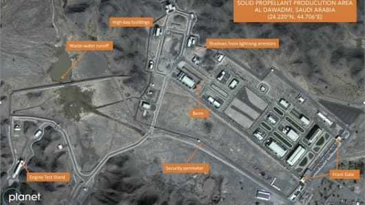 In this Nov. 13, 2018 satellite image from Planet Labs Inc that has been annotated by experts at the Middlebury Institute of International Studies, a suspected Saudi ballistic missile base and test facility is seen outside of the town of al-Dawadmi, Saudi Arabia.