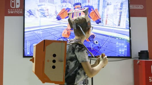A child plays with Nintendo Labo during the Milan Games Week 2018 at Fiera Milano Rho on October 5, 2018 in Milan, Italy.