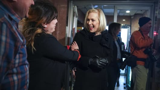 Sen. Kirsten Gillibrand (D-NY) greets people at the Country View Diner in Troy, New York, after announcing she will run for president in 2020, January 16, 2019.