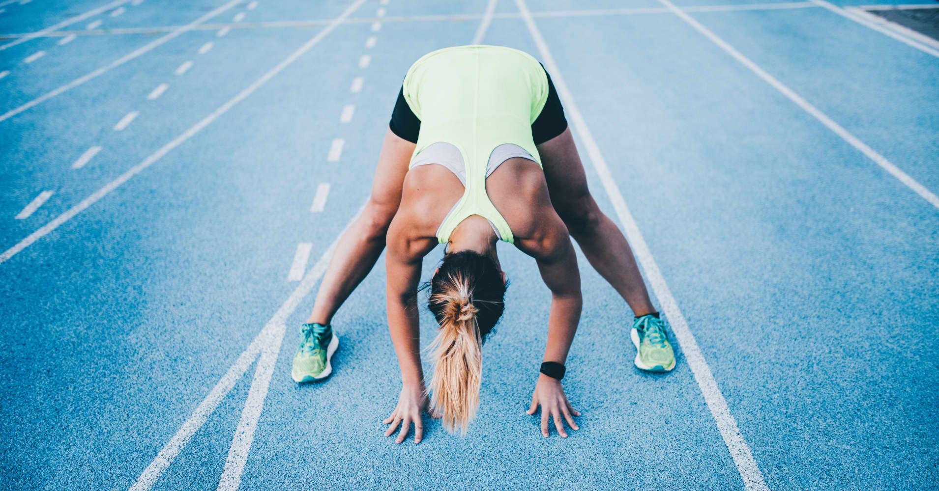 Athlete on running track