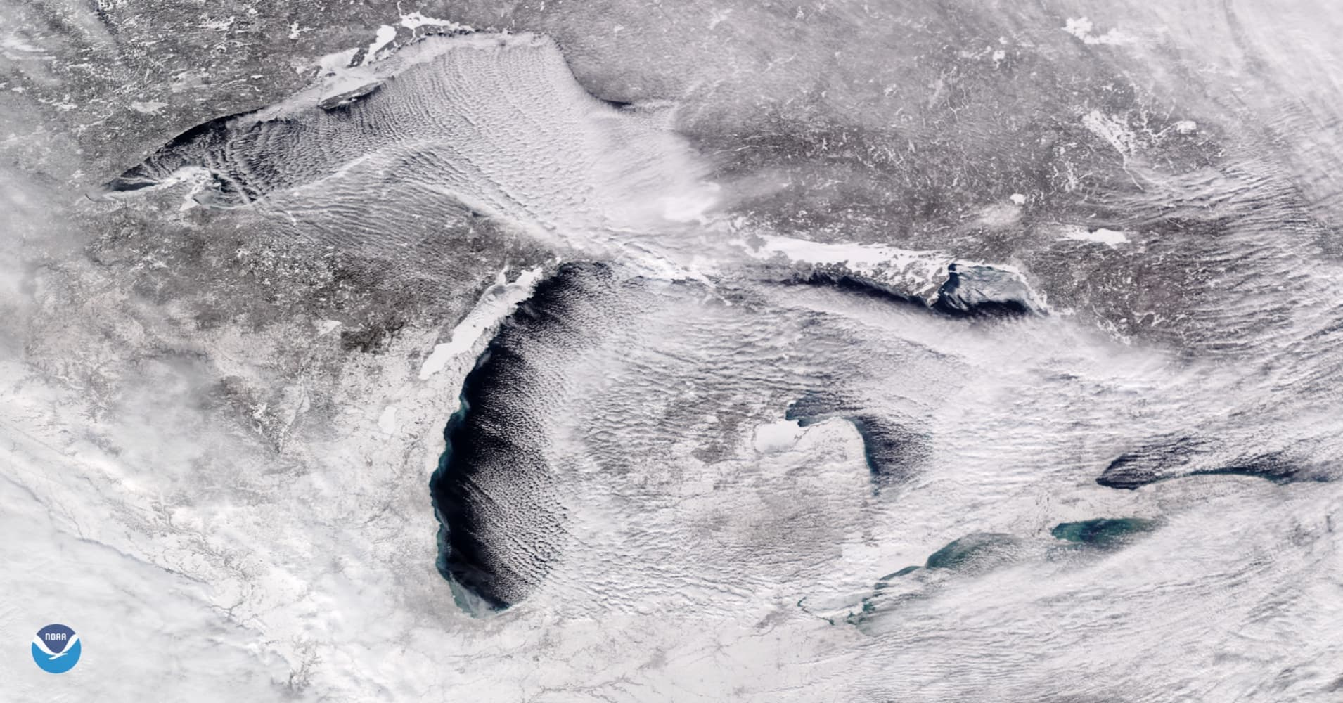 Cloud streets over the Great Lakes in this Jan. 27, 2019 image.