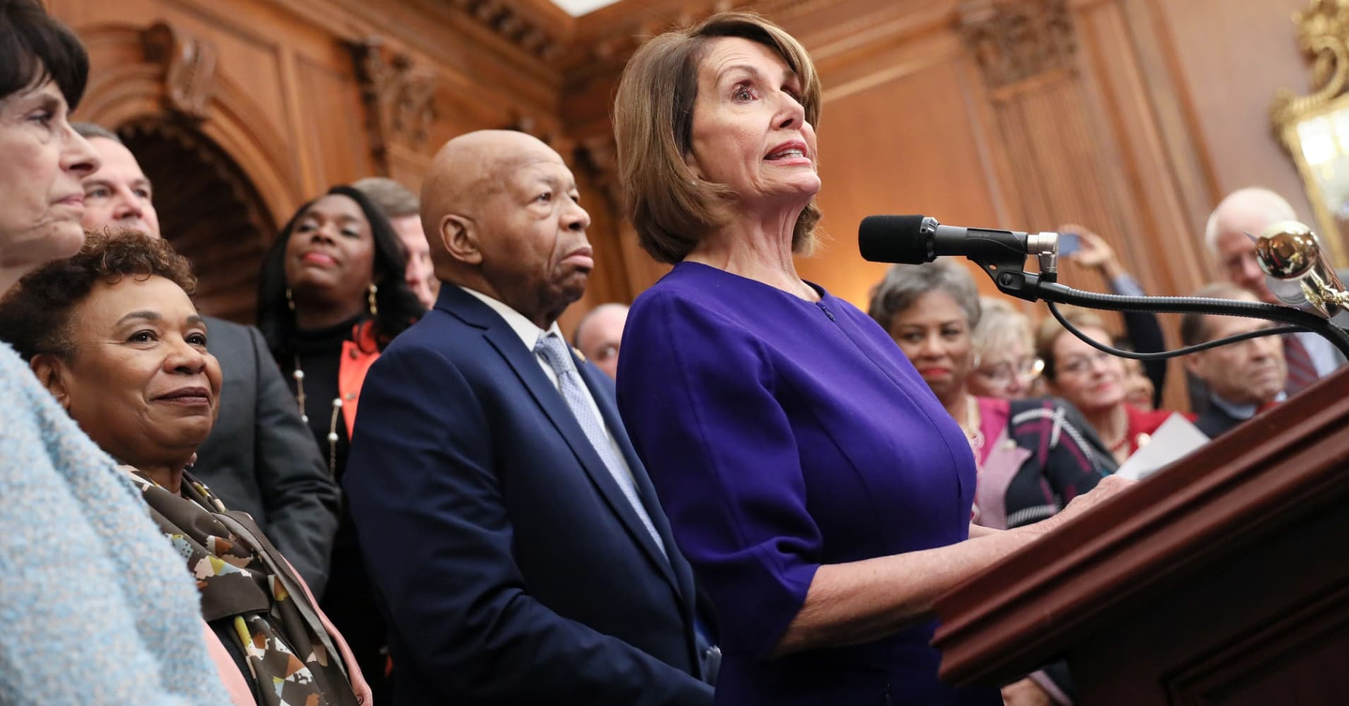 Speaker Nancy Pelosi (D-CA) leads Democrats in introducing proposed government reform legislation, which they've titled the For the People Act, at the U.S. Capitol in Washington, U.S. January 4, 2019.