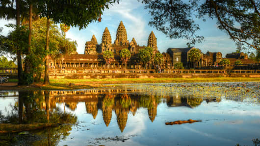 The exterior view of Angkor Wat.