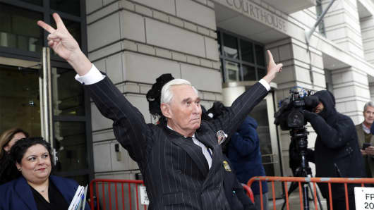 President Donald Trump's former election adviser, Roger Stone, leaves the federal court in Washington on Friday, February 1, 2019.