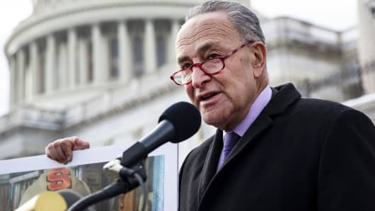 Senate Minority Leader Chuck Schumer, a Democrat from New York, speaks on Capitol Hill in Washington, D.C., Jan. 16, 2019.