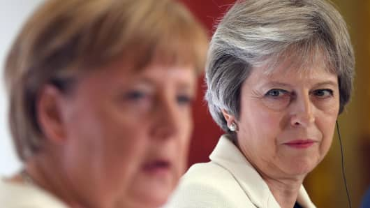 German Chancellor Angela Merkel and Prime Minister Theresa May are seen during a press conference on July 10, 2018 in London, England.