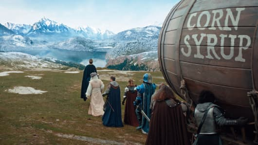 This image provided by Anheuser-Busch shows a scene from the company's Bud Light 2019 Super Bowl  football spot.