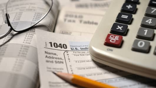 Close-up of IRS Form 1040