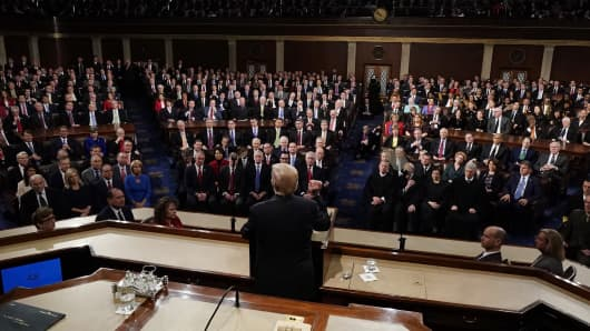 President Donald Trump delivers his State of the Union address to a joint session of the U.S. Congress on Capitol Hill January 30, 2018 in Washington, DC.