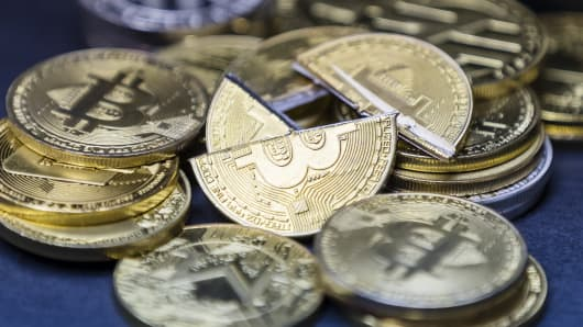 A visual representation of the digital Cryptocurrency, Bitcoin, is seen on September 04 2018 in Hong Kong, Hong Kong.