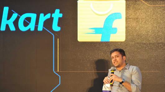 Flipkart co-founder Binny Bansal speaks during the launch of Flipkart's largest fulfillment center on the outskirts of Hyderabad on October 30, 2015.