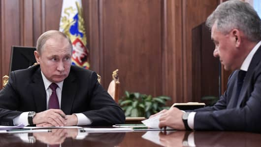 Russia's President Vladimir Putin and Russia's Defense Minister Sergei Shoigu during a meeting at Moscow's Kremlin.