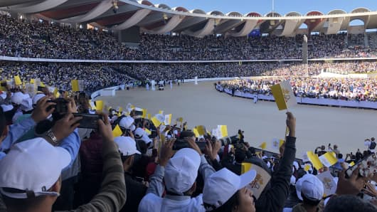 More than 140,000 faithful attend a mass given by Pope Francis in and around Abu Dhabi's Zayed Sports City Stadium during the first-ever visit by a pontiff to the Arabian Peninsula. Abu Dhabi, UAE, February 5, 2019.