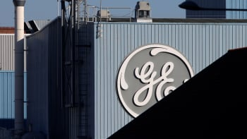 The logo of General Electric is pictured at the company's site of its energy branch in Belfort, France, February 5, 2019.