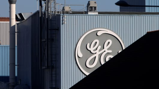 The trademark of General Electric is graphic during a company's site of a appetite bend in Belfort, France, Feb 5, 2019.