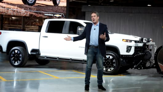 General Motors President Mark Reuss introduces the Chevrolet 2020 Silverado HD pickup truck at the GM Flint Assembly Plant in Flint, Michigan, February 5, 2019.