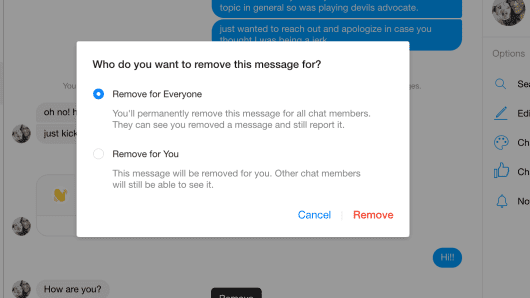 "The new ""remove for everyone"" feature in Facebook Messenger. This is the desktop version."