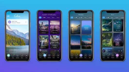 Calm app screens on an iPhone