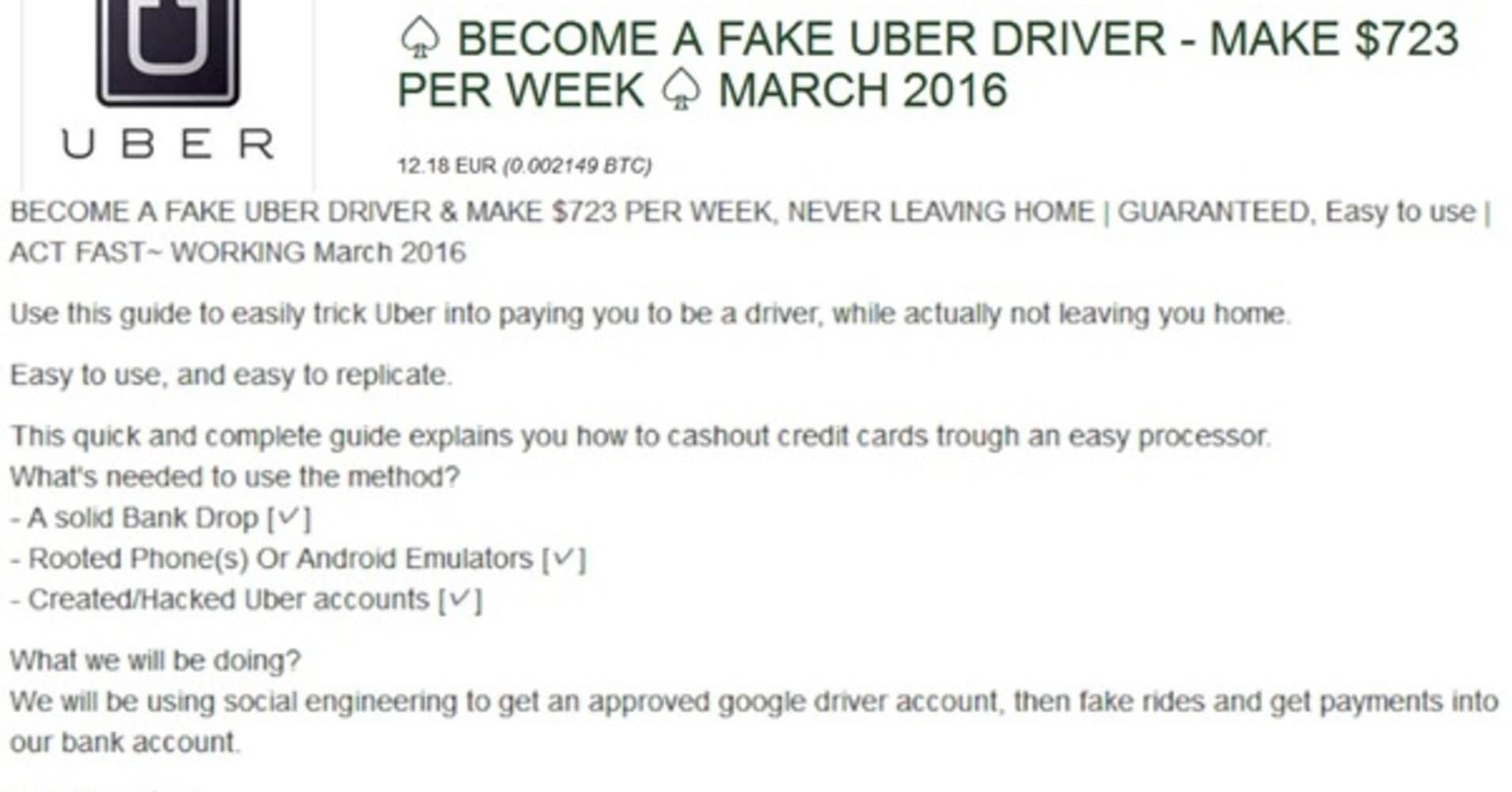 """A dark web ad, provided by security researchers at Trustwave's SpiderLabs, seeks """"fake"""" Uber drivers to help launder illicit cybercrime proceeds."""