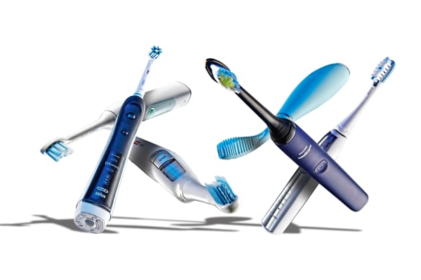 A selection of electric toothbrushes, including a Philips Sonicare 3 Series, Oral-B Pro 6500 Black Smart Series Bluetooth, Colgate Proclinical A1500 Expert White, Philips Sonicare DiamondClean, Foreo Issa and Panasonic EW-DE92 Ionic Rechargeable, taken on October 6, 2015. (Photo by Joseph Branston/T3 Magazine via Getty Images)
