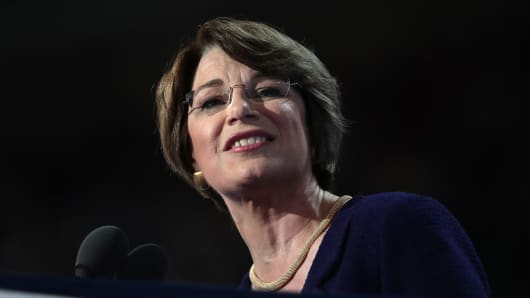 Sen. Amy Klobuchar (D-MN) delivers remarks on the second day of the Democratic National Convention at the Wells Fargo Center, July 26, 2016 in Philadelphia, Pennsylvania.