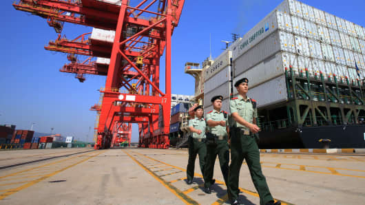 Checkpoint soldiers are on guard at a container terminal on May 25, 2017 in Lianyungang, Jiangsu Province of China.