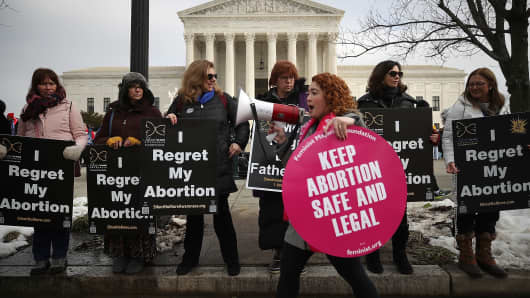 Protesters on both sides of the abortion issue gather in front of the U.S. Supreme Court building during the Right To Life March, on January 18, 2019 in Washington, DC.