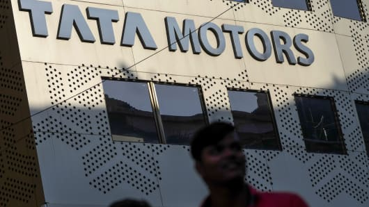Signage for Tata Motors displayed at the company's headquarters in Mumbai, India, on Jan. 27, 2018.