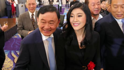 March 2018: Former Thai prime ministers Thaksin Shinawatra (L) and his sister Yingluck Shinawatra (R)  at a social event in Tokyo.