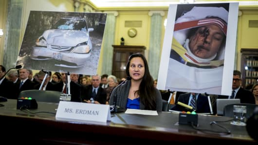 Stephanie Erdman testifies at a Senate Committee on Commerce, Science, and Transportation hearing on defects with Takata Corp. airbags in Washington, D.C. on November 11,  2014