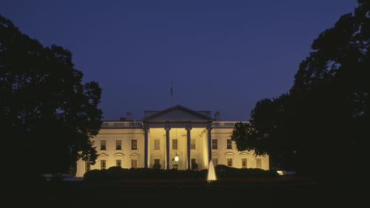Night view of South Facade of White House.