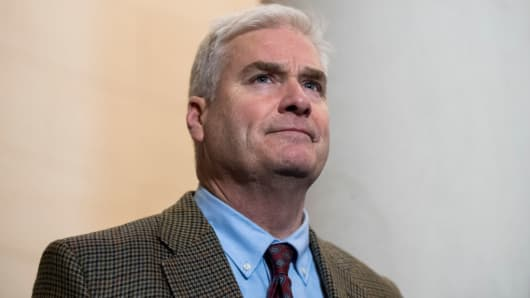 Rep. Tom Emmer, R-Minn., at a press conference following the House GOP leadership elections on Wednesday, Nov. 14, 2018.