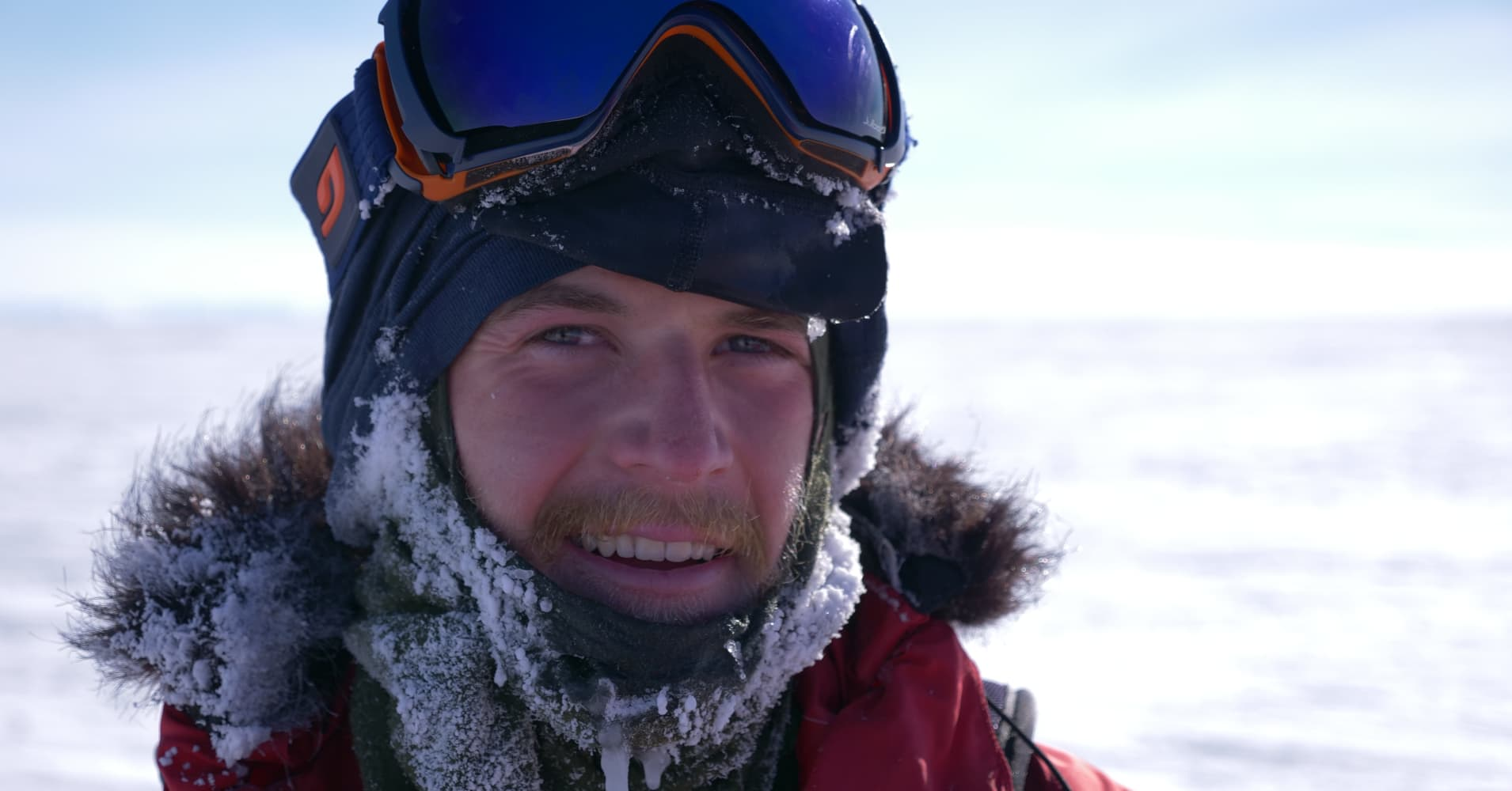 Barney Swan, 25, photographed during the world's first renewable-energy powered expedition to the South Pole in 2016.