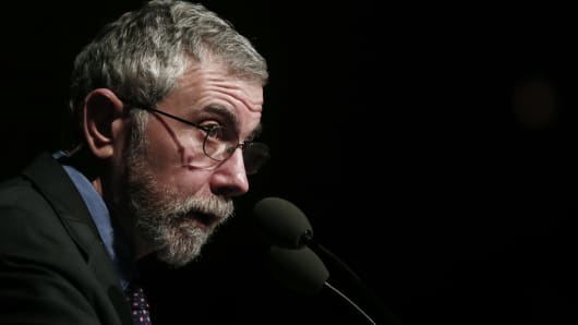 Lecture by Nobel Prize winner economist Paul Krugman in Athens, Greece on Friday, April 17, 2015.