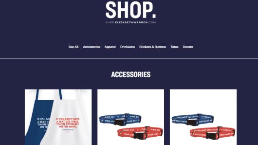 A screen capture from Sen. Elizabeth Warren's online store.