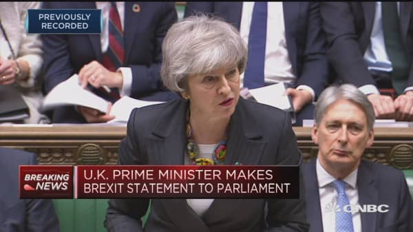 UK PM May makes Brexit speech in parliament