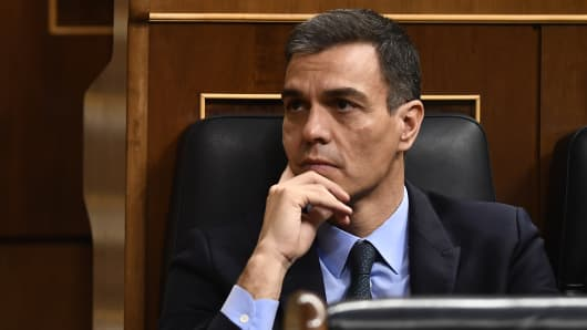 Spanish Prime Minister Pedro Sanchez attends a debate on the government's 2019 budget during a parliament session in Madrid on February 13, 2019.