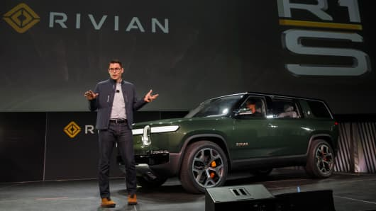 RJ Scaringe, founder and CEO of Rivian Automotive, speaks after presenting the electric sport utility vehicle (SUV) R1S.