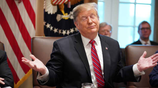 President Donald Trump speaks during a cabinet meeting in the Cabinet Room of the White House in Washington, DC on February 12, 2019.
