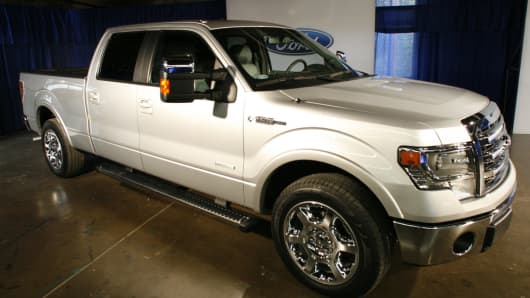 Ford Motor Co.'s 2013 F-150 pickup truck sits on display at an event in Bruceville, Texas, U.S., on Monday, June 4, 2012.