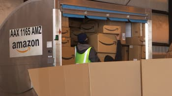 Amazon packages are sorted at Ontario International Airport on February 4, 2019.