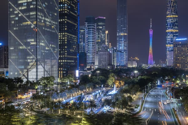 A busy night view of the CBD in Guangzhou, China.