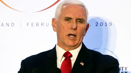 United States Vice President Mike Pence speaks at a conference on Peace and Security in the Middle East in Warsaw, Poland, Thursday, Feb. 14, 2019.