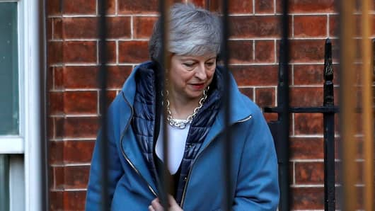 Britain's Prime Minister Theresa May is seen outside Downing Street in London, Britain, February 14, 2019.