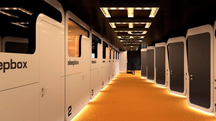 A Sleepbox for passengers traveling through Dulles International Airport.